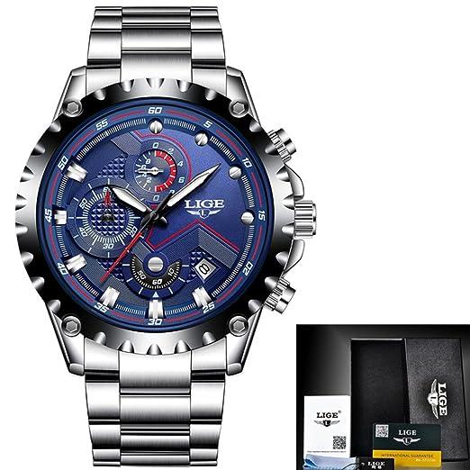 Reloj los hombres moda lujo Relojes cuarzo acero los hombres múltiples funciones acero militar Deporte reloj pulsera Relogio Masculino, azul, Cuero Día los ...