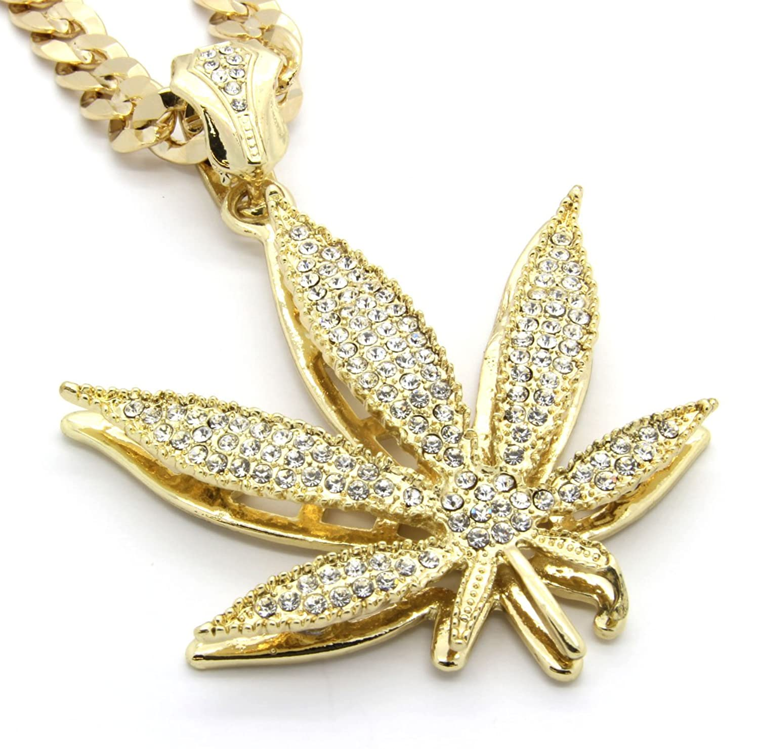 Mens gold tone marijuana hip hop pendant 30 10mm cuban chain mens gold tone marijuana hip hop pendant 30 10mm cuban chain necklace amazon aloadofball Image collections