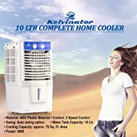 Kelvinator 10 LTR PERSONAL COOLER FOR MEDIUM ROOM (21 CM HEIGHT) 90 W Personal Air Cooler (Whit & Blue, 10 Litres)