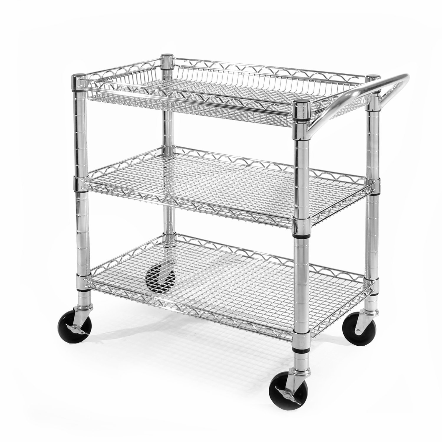 Seville Classics Heavy-Duty Commercial-Grade Utility Cart, NSF Listed, Silver