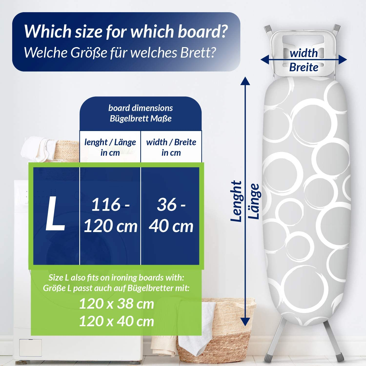 Aluminium heat and steam reflection smart/&gentle High Speed Padded Iron Board Cover up to 115x35cm with 3 Clips 100/% Cotton Top Layer Oeko-Tex tested for harmful substances