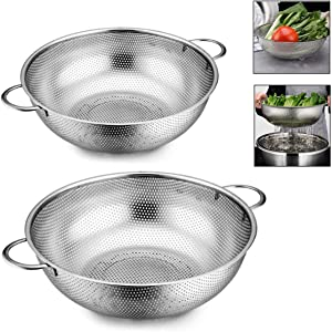 Colander Set of 2, Heavy Duty Stainless Steel Micro-Perforated Strainer Mesh Colander with Handle for Draining Rinsing Washing Pasta Vegetables Fruits, Dishwasher Safe -3/5 Quart