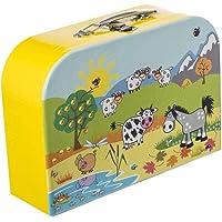 Bieco Kinderkoffer mit süßem Tiermotiv, Koffer aus Pappe, Metall-Tragegriff, Köfferchen für Kinder Equipaje Infantil, 30…