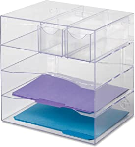 "Rubbermaid Organizer Desk, Optimizers 4-Way Organizer with Drawers 13-1/4""w x 13-1/4""d x 10""h, 1 Unit, Clear (RUB94600ROS)"
