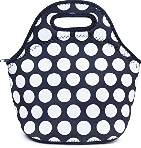 Jumppmile Black White Dot Neoprene Thick Belivlioner Insulated Lunch Bag Tote With Zipper For Outdoor Travel Work School