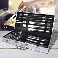 10Pcs Stainless Steel BBQ Tool Set Outdoor Barbecue Utensil Aluminium Grill Cook