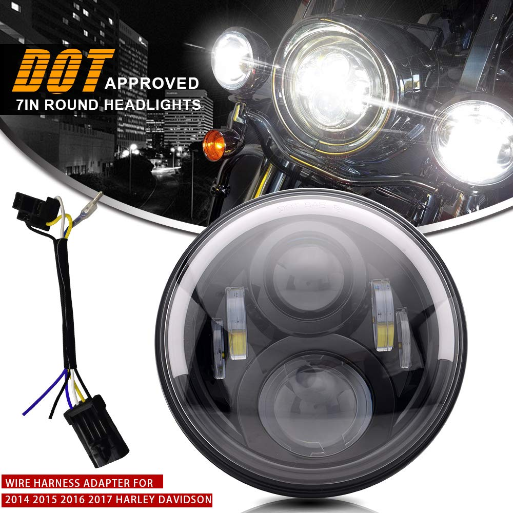 Turbosii Dot Angel Eye 7in Round Led Headlight With Drl Amber Turn Tail Wiring Harness For Harley Davidson Signal Hi Lo Beam Hd Road King Flhtc Ultra Classic Softtail Flhtk