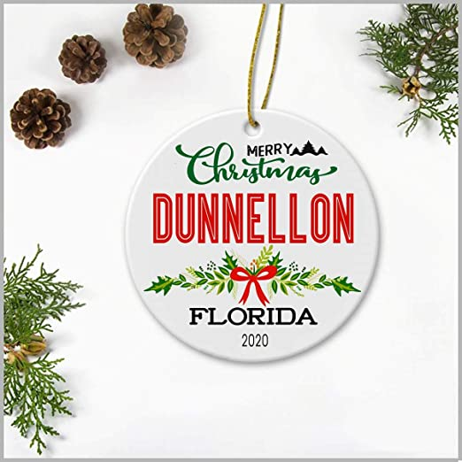 Christmas At   Florida 2020 Amazon.com: Merry Christmas Dunnellon Florida 2020   Ceramic Round