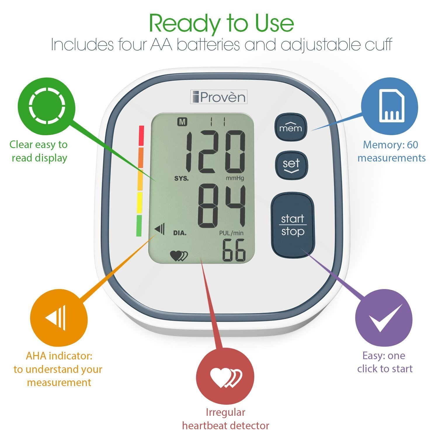 Digital Automatic Blood Pressure Monitor - Upper Arm Cuff - Large Screen - Accurate & Fast Reading Electronic Machine - Top Rated BP Monitors and Cuffs - FDA Approved - iProvèn BPM-634 - for Home Use by iProvèn (Image #4)