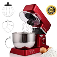 MeyKey Stand Mixer, 800W Tilt-Head Kitchen Electric Food Mixer with 6-Speed Control, 5-Quart Stainless Steel Bowl, Dough Hook, Whisk, Beater, Splash Guard (Red)