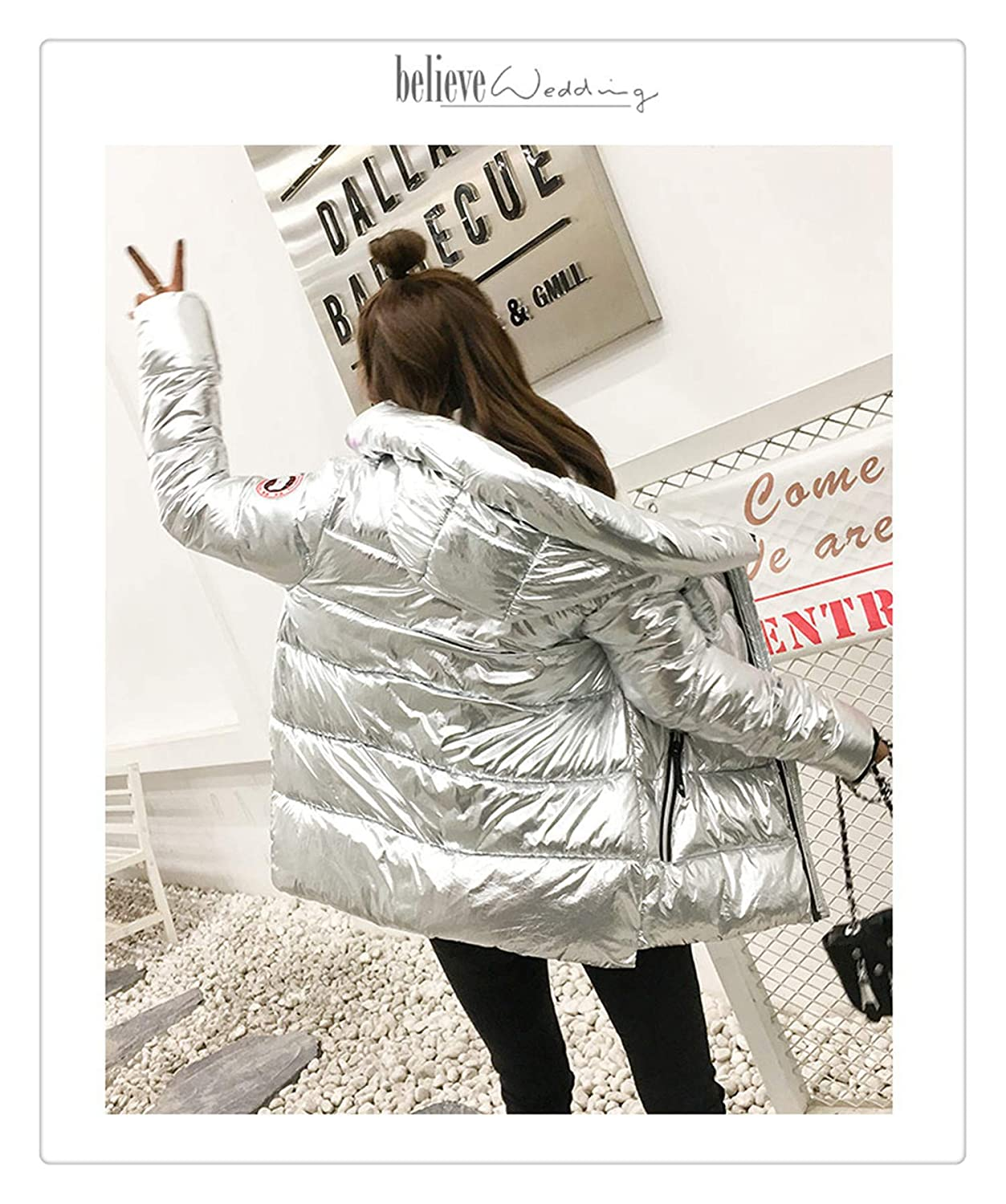 White Angshanxia Silver Bright Jacket Coat Women Winter Warm Down Cotton Padded Parkas