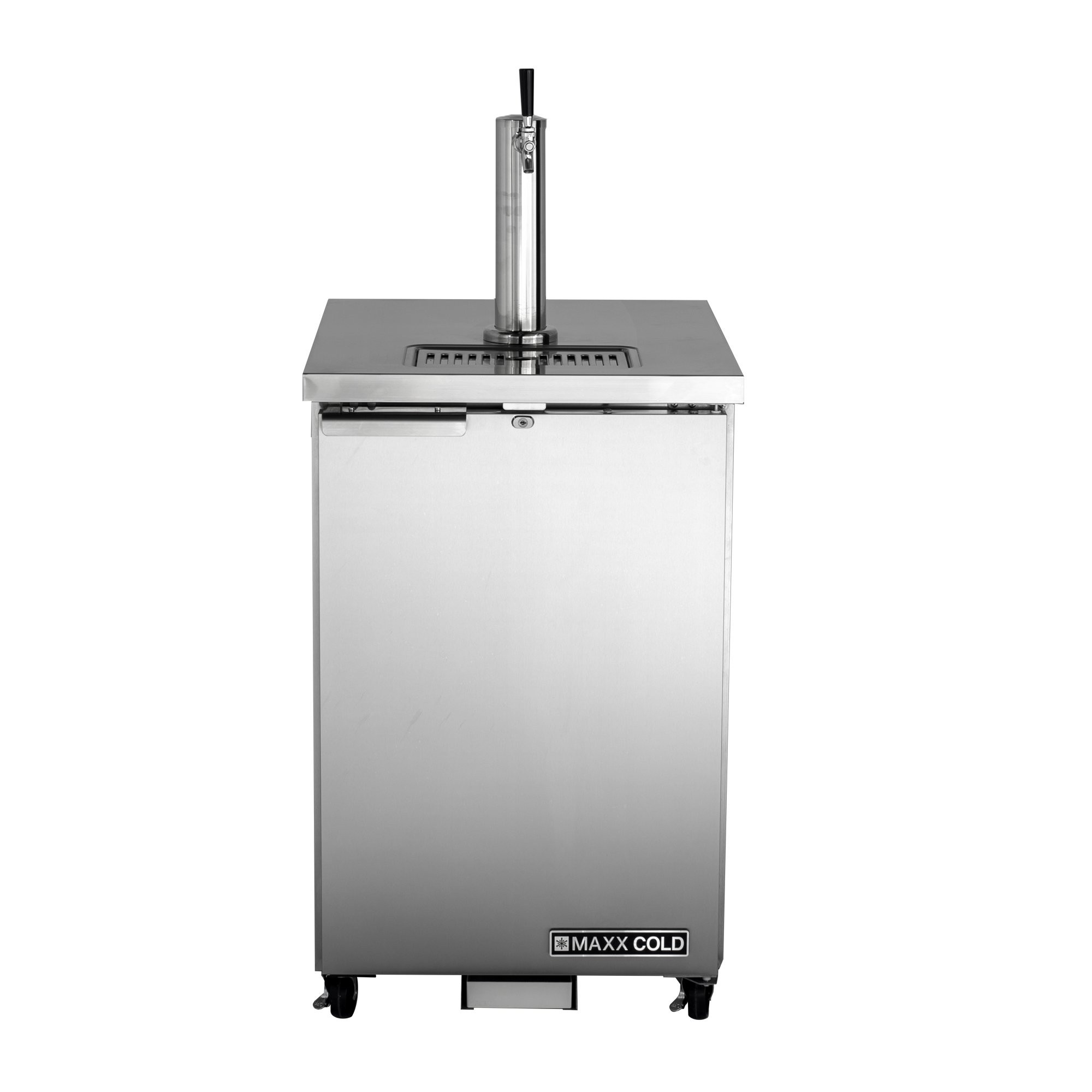 Maxx Cold MXBD24-1S Commercial Stainless Steel NSF Bar Direct Draw Kegerator Beer Dispenser Cooler with 1 Single Tower Tap Holds 1 Half 1/2 Size Keg, 23.3 Inch Wide 7.2 Cubic Feet , Silver