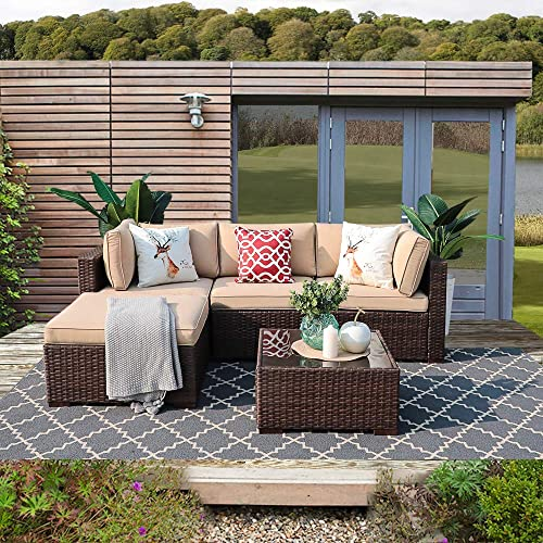 Patiorama 5 Piece Outdoor Furniture, Patio Sectional Furniture Sofa Set All-Weather Brown PE Wicker Furniture with Beige Seat Cushions Glass Coffee Table Patio, Backyard, Pool