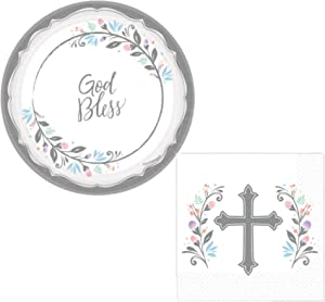 Inspirational Cross Religious Party Supplies for 36 People   Bundle Includes Dessert Plates and Napkins   Baptism Holy Communion Confirmation Dedication Memorial   Blessed Holy Day Theme