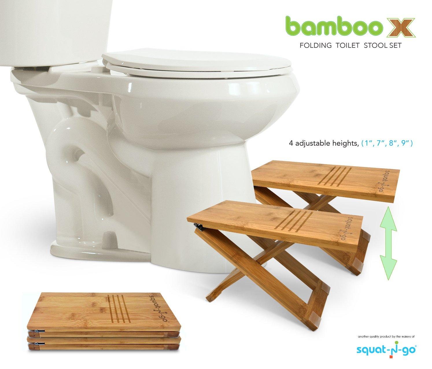 Squat N Go Bamboo X Toilet Stool | Fully Adjustable, Ultra Portable & Eco Friendly | Bonus Travel Bag Included