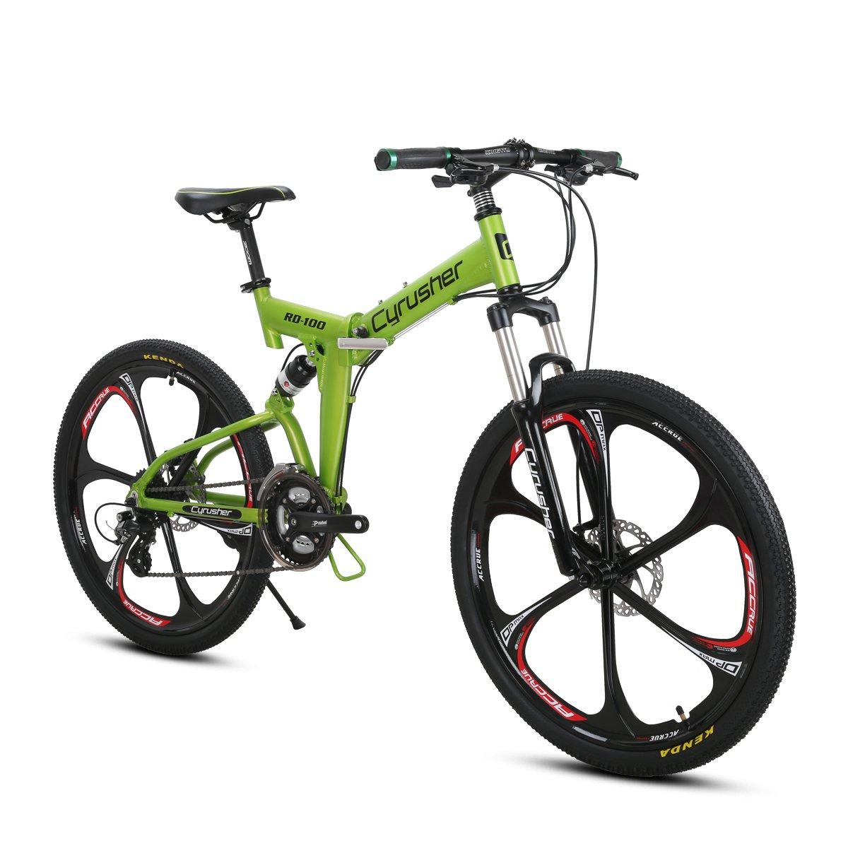Excy RD100 26インチ マウンテンバイク MTB 折りたたみ 自転車 シマノ製24段変速 フルサスペンション B074MV9D9M グリン グリン