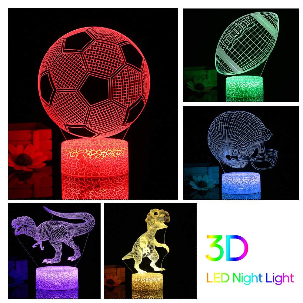 Bulufree Dinosaurio 3D L/ámpara de ilusi/ón de luz Nocturna LED Luces Que cambian de Color L/ámpara de Escritorio con tocador y Control Remoto para ni/ños Regalos Decoraci/ón del hogar