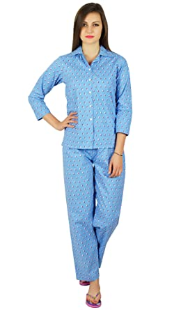 1205c09140 Bimba Womens Cotton Night Wear Printed Pajama Set Full Sleeve Shirt with  Pyjama