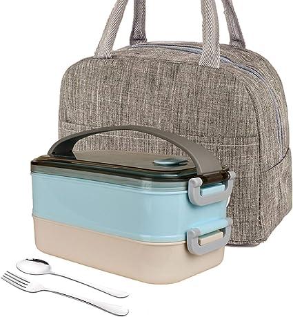 iEago RC Bento Box Lunch Paglia Di Grano Contenitore per Alimenti Impilabile Con Utensili Tazza Da Zuppa Borsa Da Pranzo Isolata Per Forno A Microonde Lavabile In Lavastoviglie per Bambini rosa