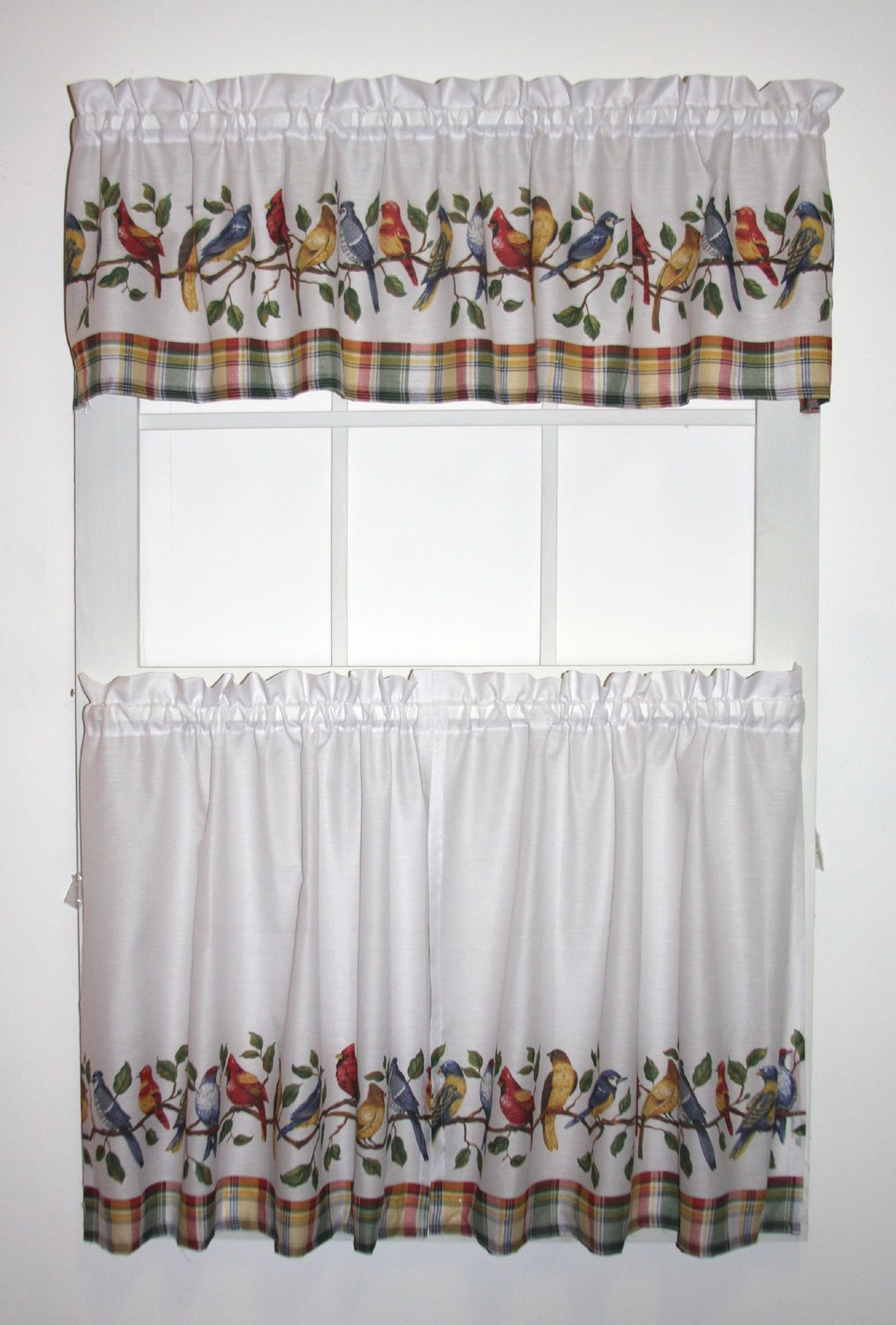 Songbirds White Tailored Tiers Curtains and Valance 3 Piece Set with Birds - Cardinals and Blue Jays (36-inch Long)