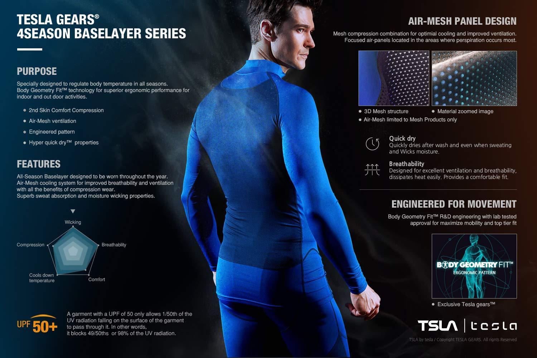 TM-MUC18-KLB_X-Small Tesla Men's Compression Capri Shorts Baselayer Cool Dry Sports Tights MUC18 by TSLA (Image #3)