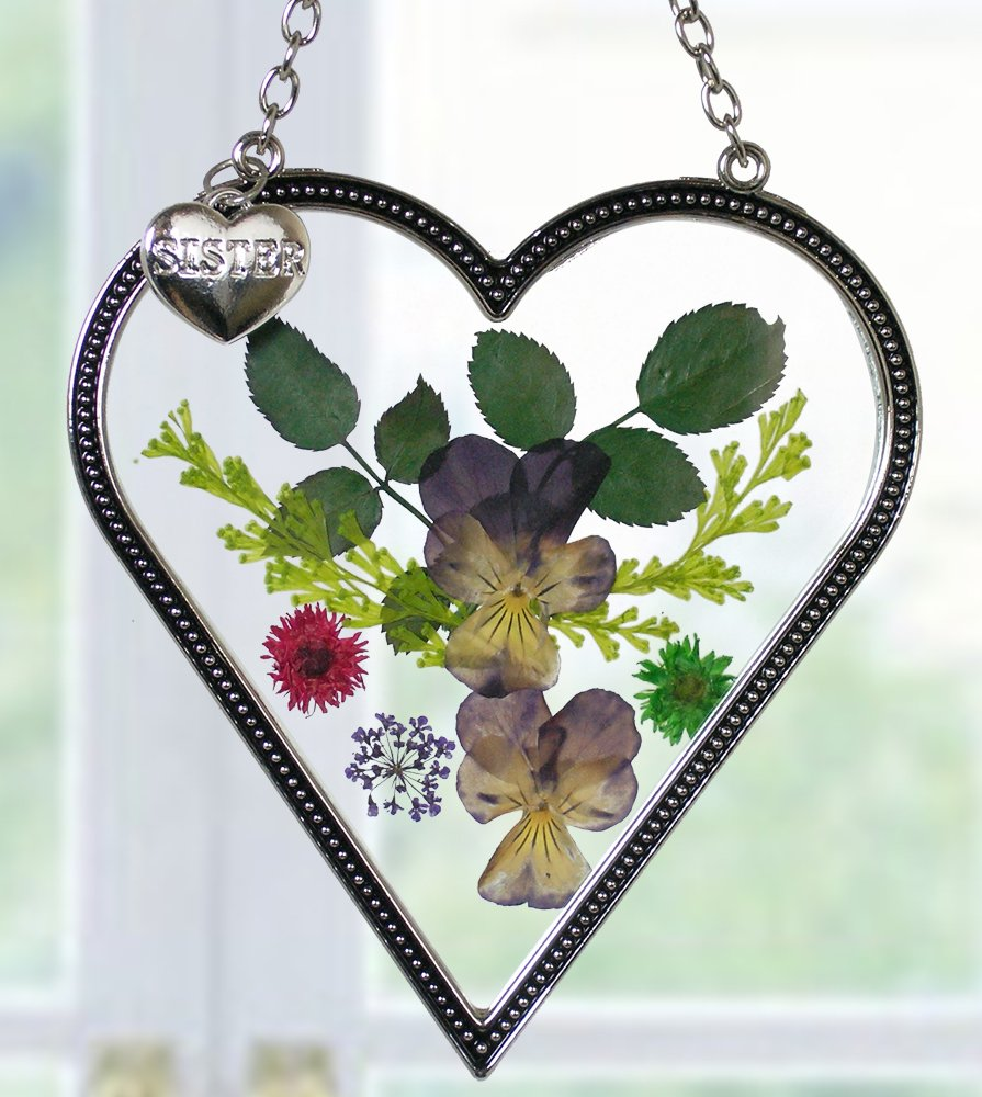 Sister Suncatcher - Glass Heart Shaped Suncatcher with Pressed Flowers and Engraved Sister Charm - 4 Inch by Banberry Designs