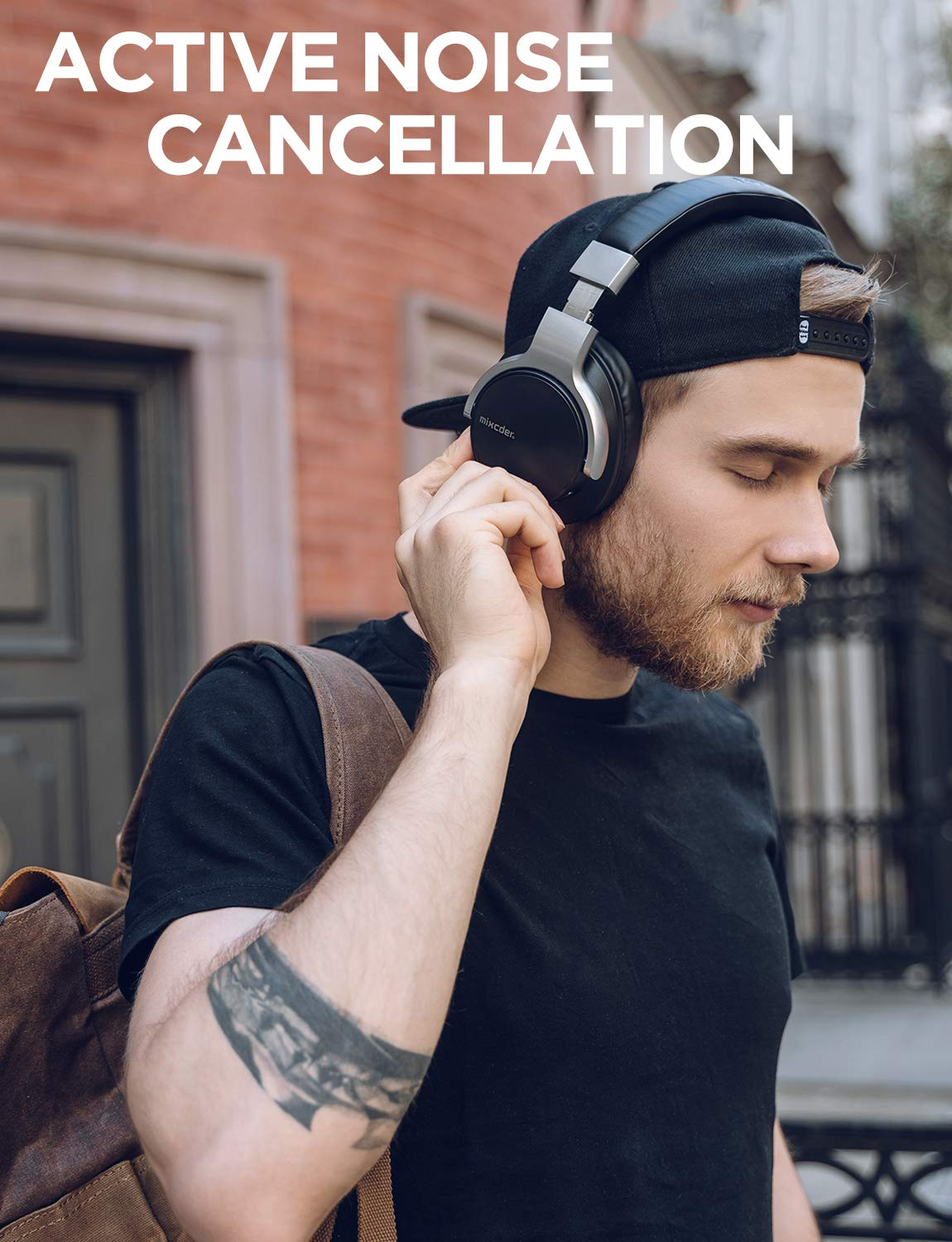 Mixcder E7 Active Noise Cancelling Headphones, Wireless Bluetooth Headphones Over Ear with Microphone, Hi-Fi Stereo Headset Deep Bass, Comfortable Protein Earpads for PC Cell Phones TV