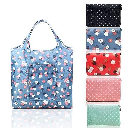 Vindar 5 bolsas de la compra plegables, 55 x 33 cm, bolsa de la compra reutilizable, práctica bolsa de hombro de la compra, poliéster, duradera, ...