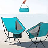 Reliancer Portable Camping Chair Compact Ultralight Folding Beach Hiking Backpacking Chairs Ultra-Compact Moon Leisure Chair Heavy Duty 330lbs for Hiker Camp Fishing w/Carrying Bag