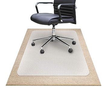 OfficeMarshal Alfombra Silla Ruedas Oficina - Plástico para alfombras | Protector Semi Transparente | Polipropileno |