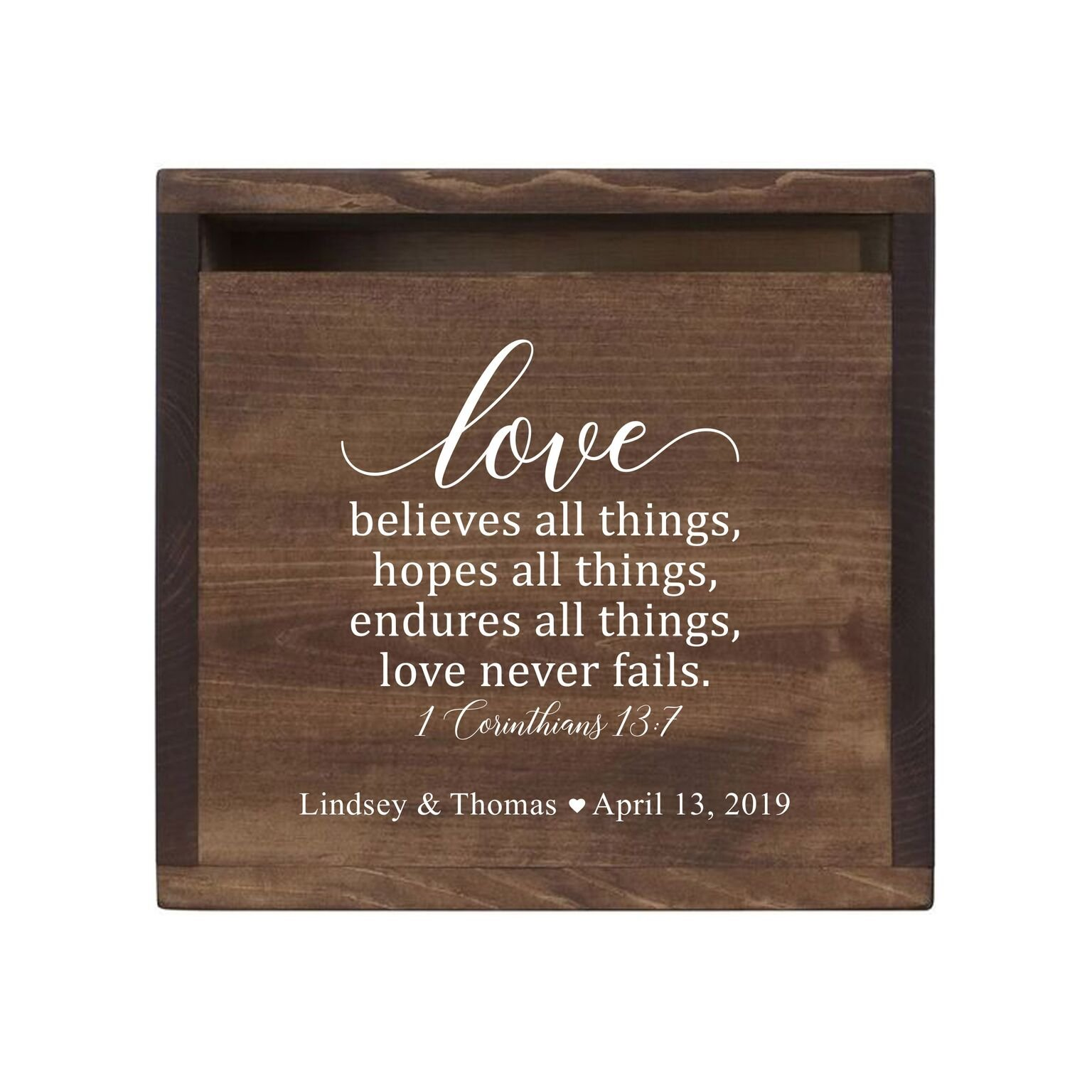LifeSong Milestones Personalized Love Never Fails Rustic Wooden Wedding Card Box Custom Card Holder with Front Slot for Newlyweds Couples Reception 13.5'' L x 12'' W x 12.5'' T (Walnut)