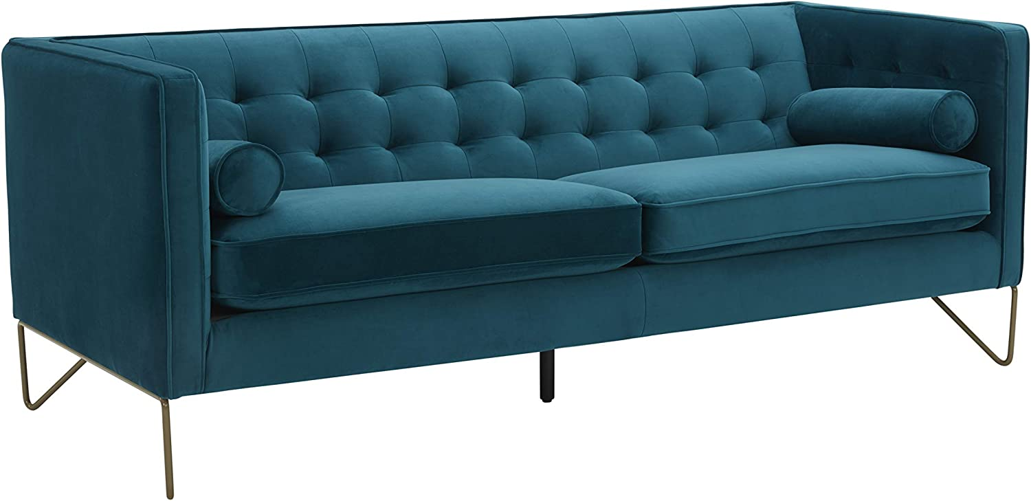 "Amazon Brand – Rivet Brooke Contemporary Mid-Century Modern Tufted Velvet Sofa Couch, 82""W, Teal"