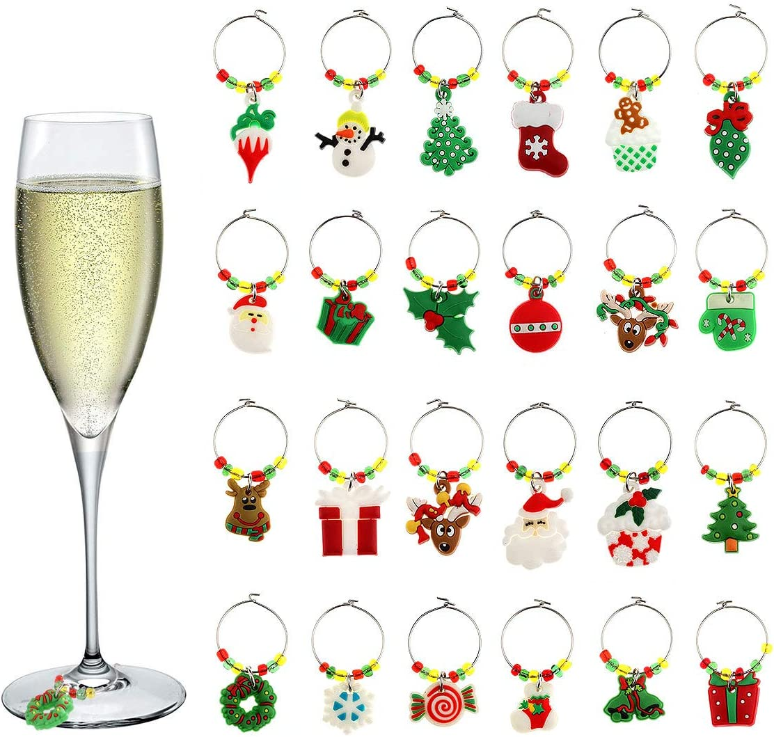 Amazon Com Bridget Bobby 24 Pack Christmas Holiday Wine Glass Buckle Charms Tags Goblet Pvc Ring Drink Markers For Wine Champagne Cocktail Accessories Party Bar Decoration Wine Glasses