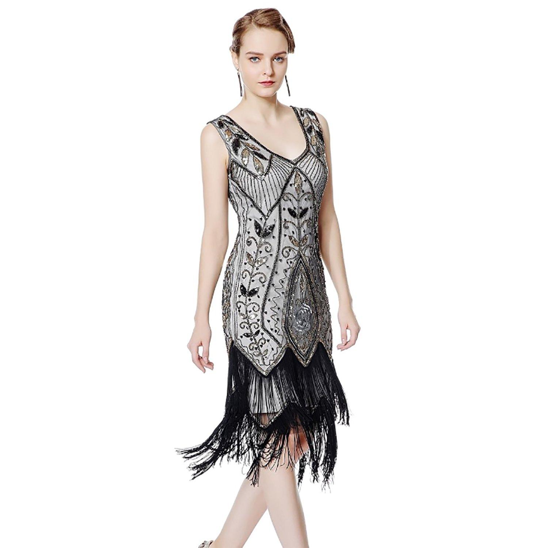 IMAGICSUN Sequin Dress V Neck Dresses - Flapper Dress Evening Dresses for Women MYM002