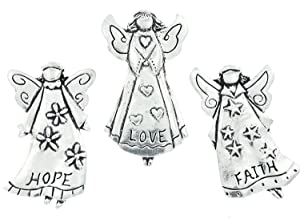 Faith Love Hope Angels Set of 3 Pewter Magnets w/ Gift Box