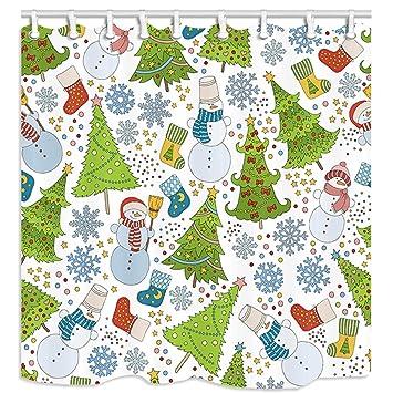 KOTOM Cortinas de Ducha de Vacaciones, Navidad Copo de Nieve y muñeco de Nieve para