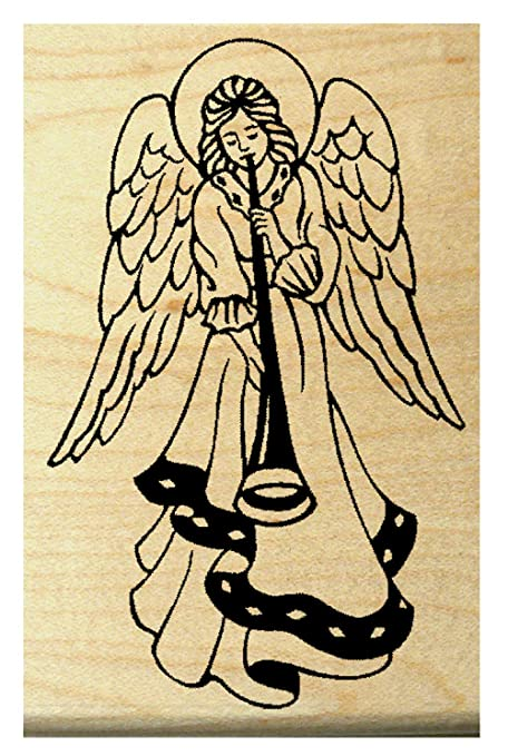Amazon Angel With Horn Rubber Stamp WM P19