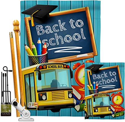 Angeleno Heritage Fk137158 P3 Welcome Back To School Special Occasion Education Impressions Decorative Vertical House 28 X 40 Garden 13 18 5 Flags Kit W Banner Pole Included Printed In Usa