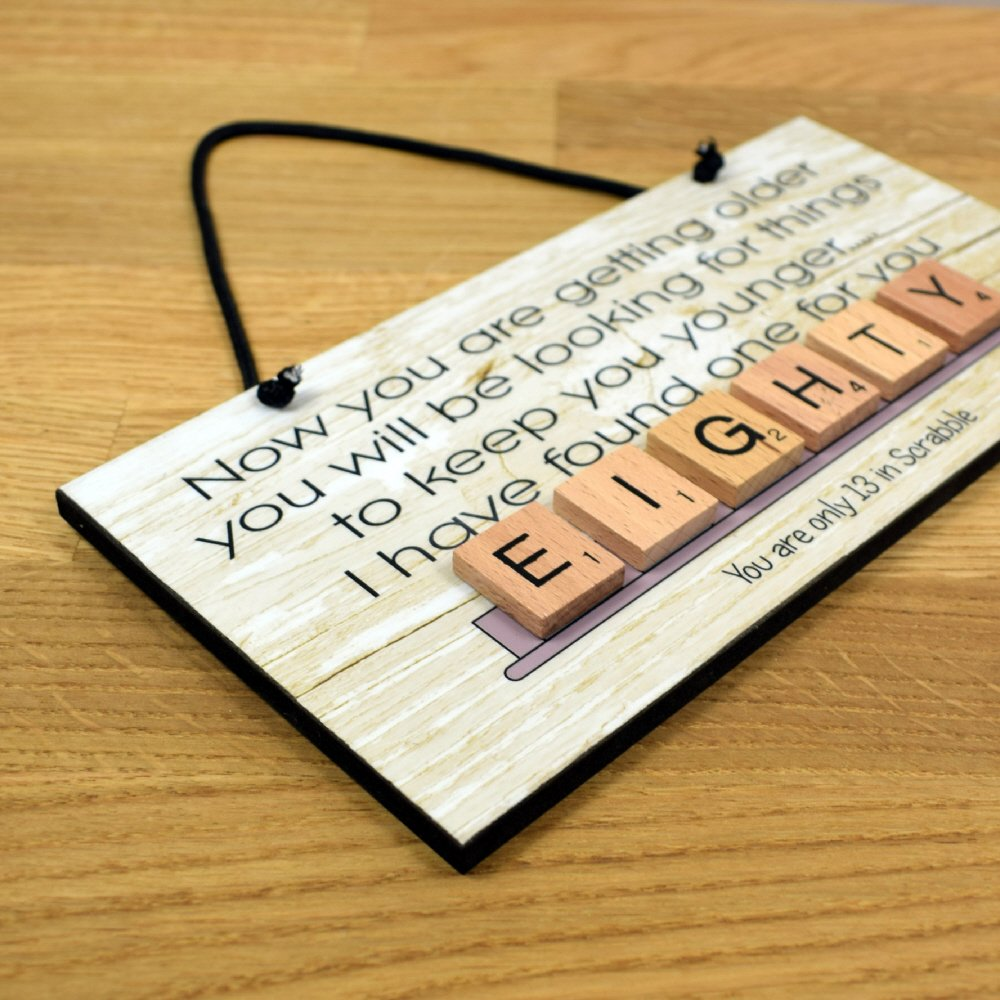 80th Birthday Scrabble Fun Gift Handmade Wooden Home Sign//Plaque 80
