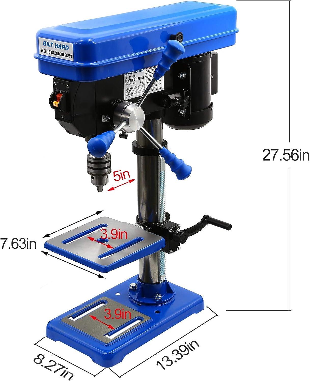 BILT HARD 10 inch 12-Speed Drill Press, Benchtop Drilling Machine, with Drill Vise & Bit Set