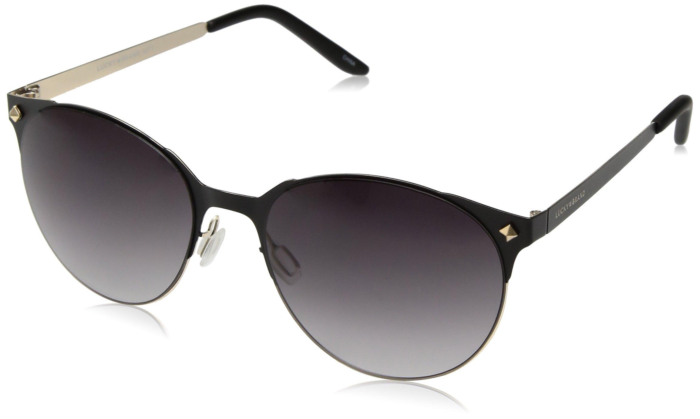 Lucky D925blg58 Round Sunglasses, Balck/Gold, 58 mm