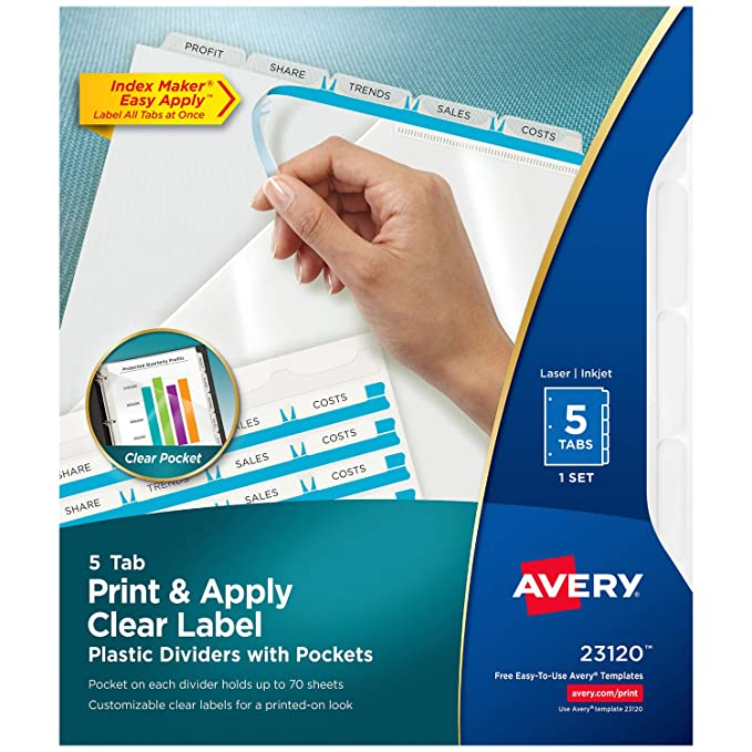 amazoncom avery 5 tab plastic dividers with pockets easy print apply clear label strip index maker 1 set 23120 office products