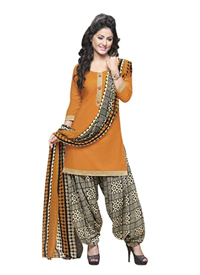 Miraan Womens Cotton Dress Material Rani11017orangeone Size