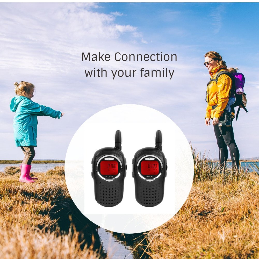 2 Pack JAJA JJ-210 Mini Walkie Talkies for Kids Gift Toys for Girls Boys FRS Two Way Radios Long Range 22 Channel 38 CTCSS 83 DCS Alarm Clock