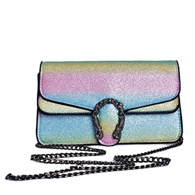 Image Unavailable. Image not available for. Color  Normia Rita Shiny  Rainbow Womens Chain Bag Sequins Small Purse Multi-Purpose Crossbody Shoulder  Bag cf05d367e463