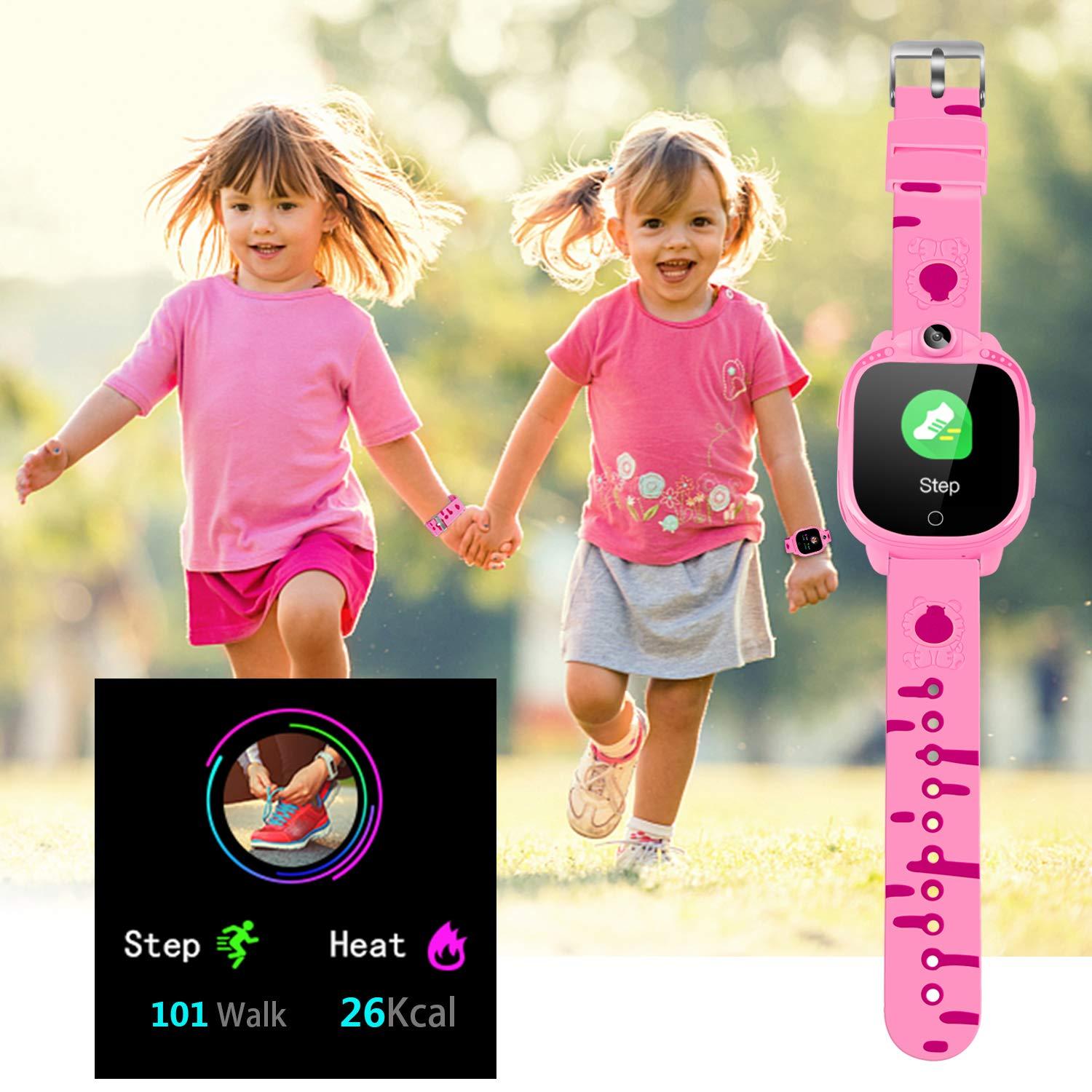 Prograce Kids Smart Watch with 90°Rotatable Camera Smartwatch Touch Screen Kids Watch Music Pedometer Flashlight FM Radio Games Digital Wrist Watch for Girls Electronic Learning Toys by Prograce (Image #6)