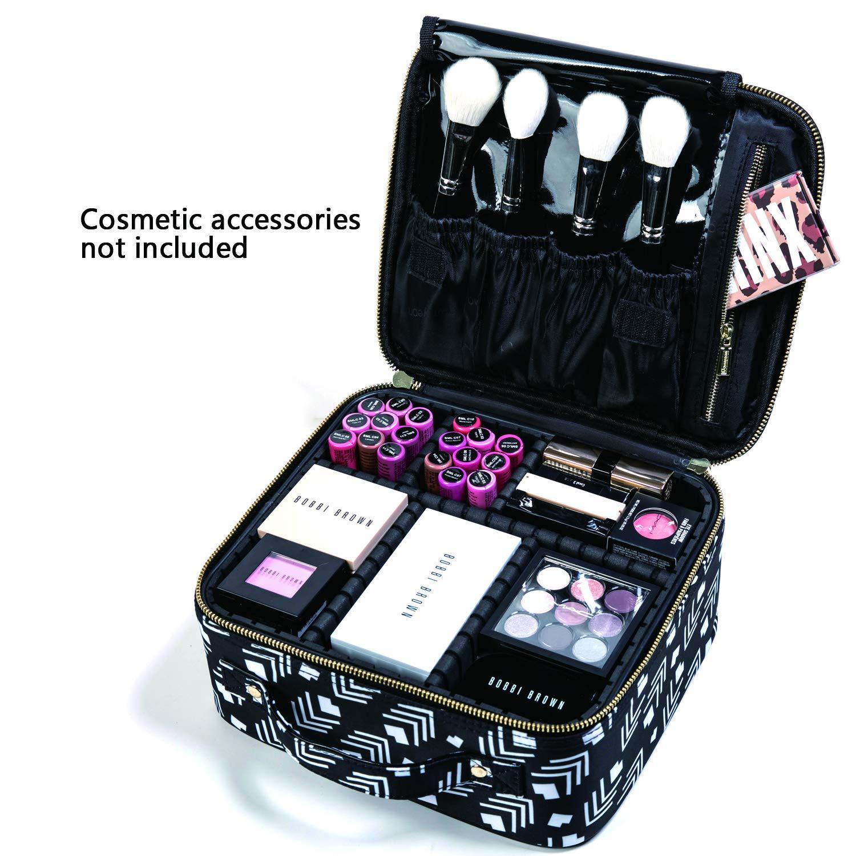 ROWNYEON Makeup Bag Makeup Case Professional Makeup Travel Case Train Case Cosmetic Bag Portable Pattern Makeup Artist Bag Organizer EVA Adjustable Dividers Gift for Women Girls Small Pattern