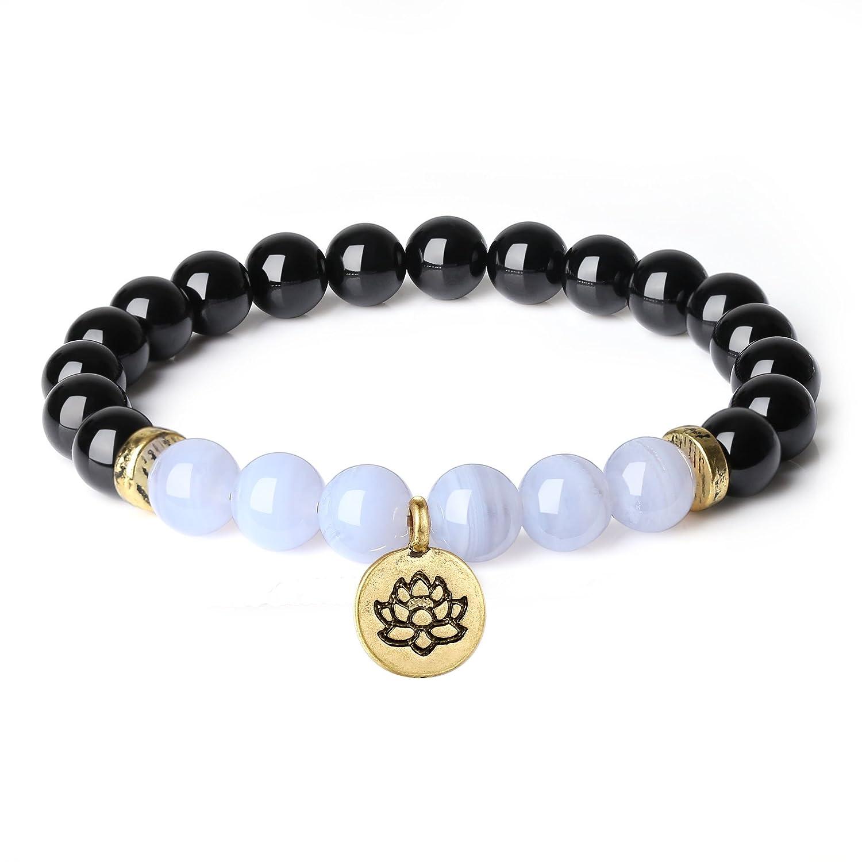 COAI Lotus Charm Tourmalline Blue Lace Agate Stones Yoga Bracelet for Women 8mm N474-1