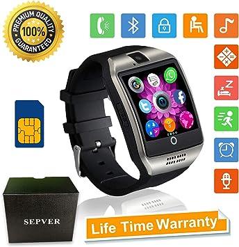 SEPVER Relojes Inteligente Smartwatch con Pantalla Táctil Soporte para Cámara Tarjeta SIM para Samsung LG HTC Sony Google Huawei Xiaomi Android