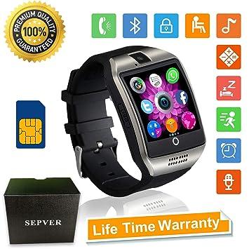 SEPVER Relojes Inteligente Smartwatch con Pantalla Táctil Soporte para Cámara Tarjeta SIM para Samsung LG HTC Sony Google Huawei Xiaomi Android Teléfono ...